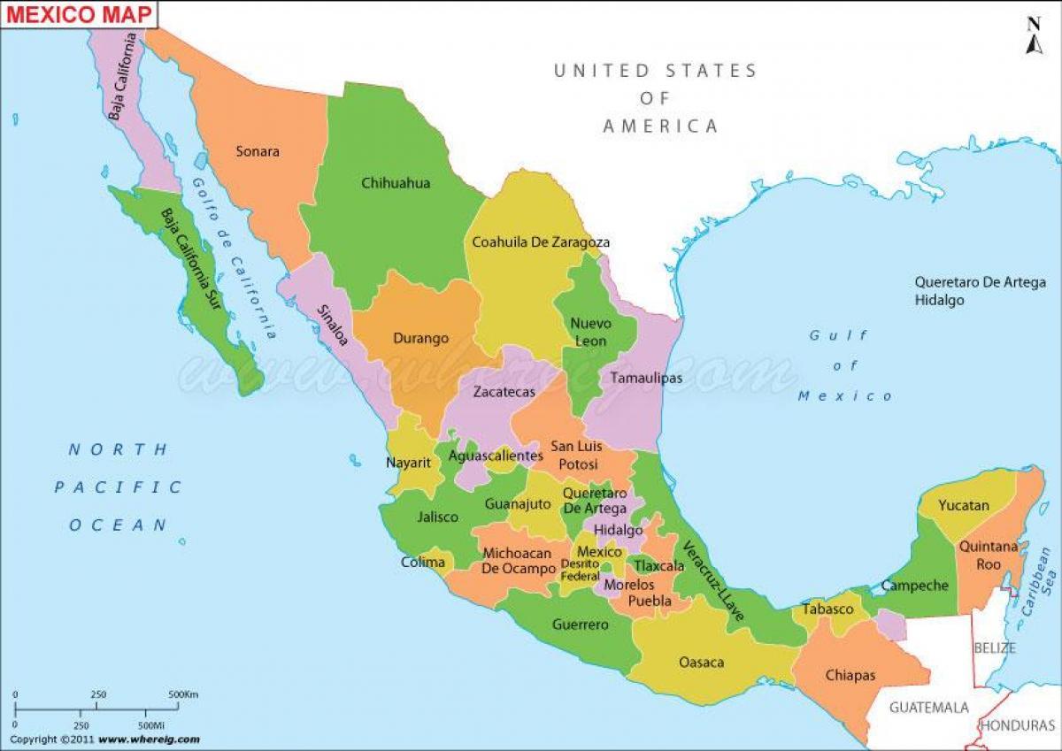 közép amerika térkép Mexikó térkép   politikai Térkép Mexikó politikai (Közép Amerika  közép amerika térkép