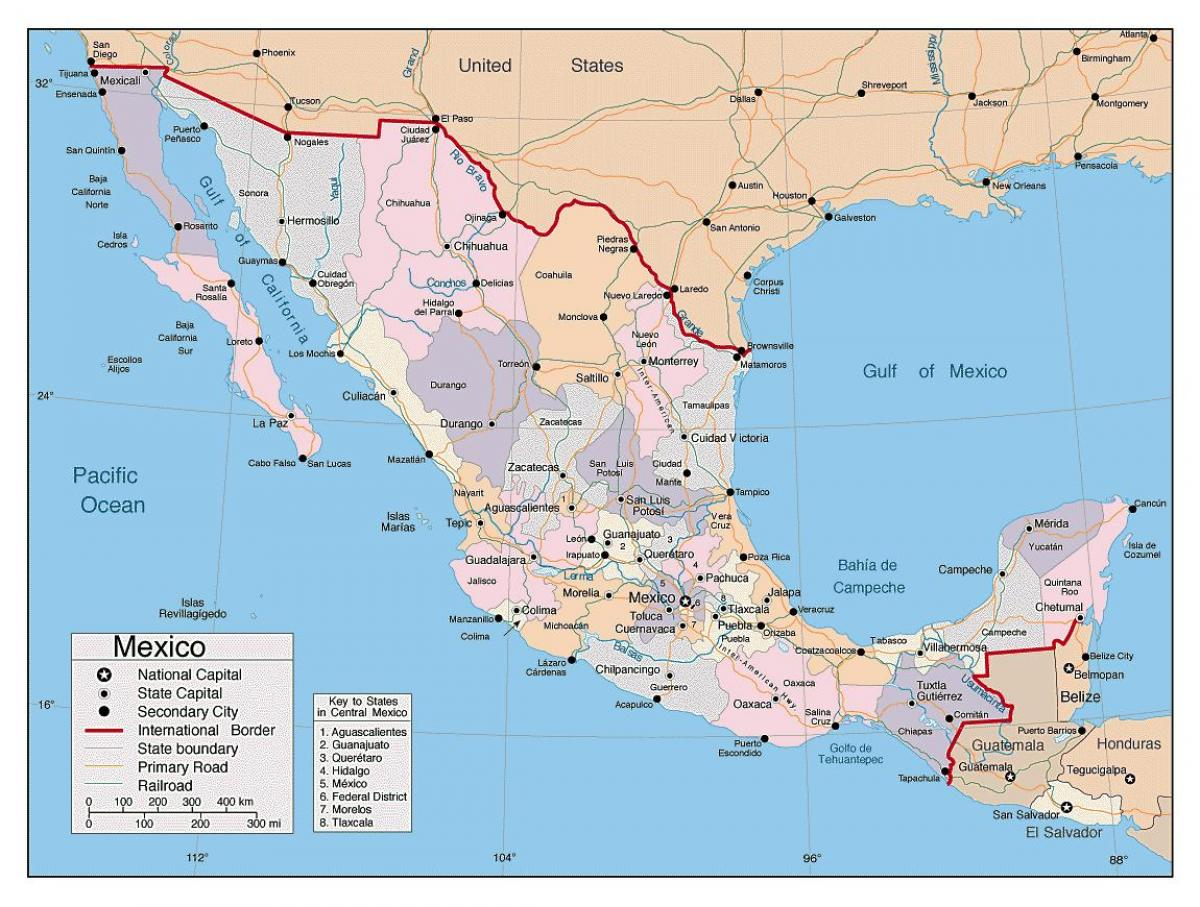mexikó térkép Térkép Mexikó nagyobb városokban   Mexikó térkép, a nagyobb  mexikó térkép